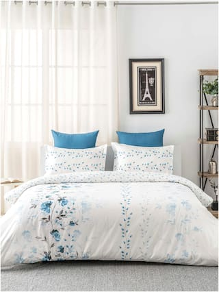 D'Decor Live Beautiful Cotton Floral Queen Size Bedsheet 136 TC ( 1 Bedsheet With 2 Pillow Covers , Blue )