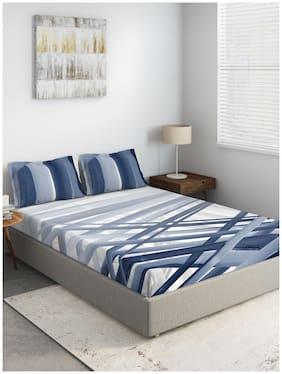 D'Decor Live Beautiful Cotton Geometric Double Size Bedsheet 136 TC ( 1 Bedsheet With 2 Pillow Covers , Blue )