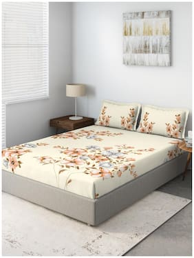 D'Decor Live Beautiful Cotton Floral Queen Size Bedsheet 136 TC ( 1 Bedsheet With 2 Pillow Covers , Beige )