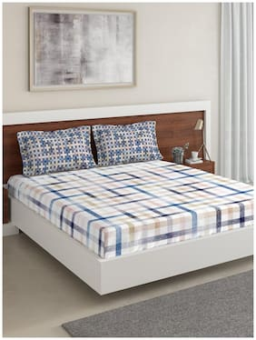 D'Decor Live Beautiful Cotton Abstract Double Size Bedsheet 136 TC ( 1 Bedsheet With 2 Pillow Covers , Blue )