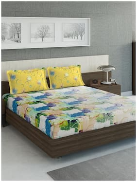 D'Decor Live Beautiful Cotton Abstract King Size Bedsheet 144 TC ( 1 Bedsheet With 2 Pillow Covers , Yellow )