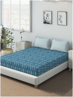 D'Decor Live Beautiful Cotton Printed Queen Size Bedsheet 136 TC ( 1 Bedsheet With 2 Pillow Covers , Blue )