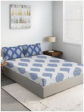 D'Decor Live Beautiful Cotton Printed King Size Bedsheet 144 TC ( 1 Bedsheet With 2 Pillow Covers , Blue )