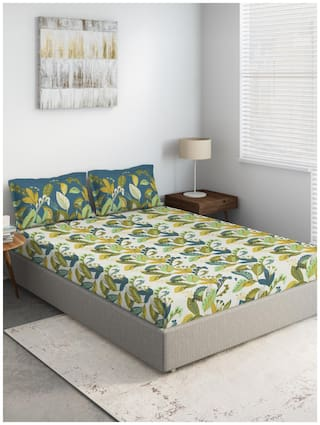 D'Decor Live Beautiful Cotton Floral Double Size Bedsheet 144 TC ( 1 Bedsheet With 2 Pillow Covers , Green )