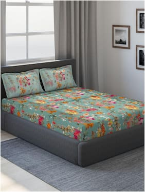 D'Decor Live Beautiful Cotton Floral King Size Bedsheet 180 TC ( 1 Bedsheet With 2 Pillow Covers , Turquoise )