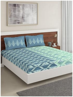 D'Decor Live Beautiful Cotton Abstract King Size Bedsheet 136 TC ( 1 Bedsheet With 2 Pillow Covers , Blue )
