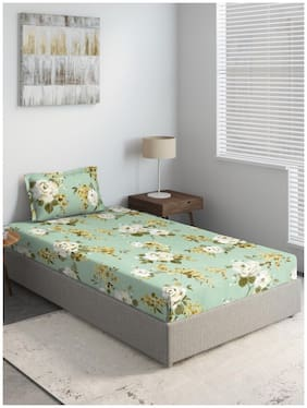 D'Decor Live Beautiful Cotton Floral Single Size Bedsheet 136 TC ( 1 Bedsheet With 1 Pillow Covers , Green )