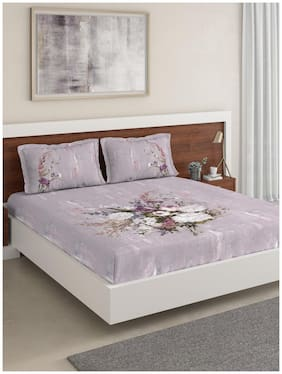 D'Decor Live Beautiful Cotton Floral Double Size Bedsheet 180 TC ( 1 Bedsheet With 2 Pillow Covers , Purple )