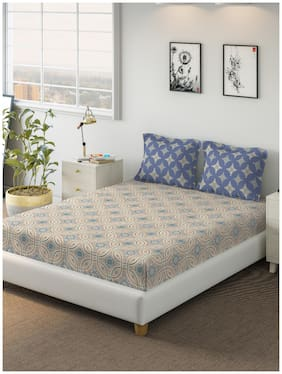 D'Decor Live Beautiful Cotton Printed Double Size Bedsheet 144 TC ( 1 Bedsheet With 2 Pillow Covers , Blue )