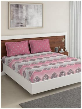D'Decor Live Beautiful Cotton Printed King Size Bedsheet 136 TC ( 1 Bedsheet With 2 Pillow Covers , Pink )