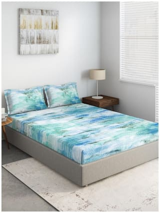 D'Decor Live Beautiful Cotton Geometric Double Size Bedsheet 136 TC ( 1 Bedsheet With 2 Pillow Covers , Turquoise )