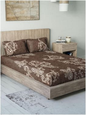 D'Decor Live Beautiful Cotton Paisley Double Size Bedsheet 136 TC ( 1 Bedsheet With 2 Pillow Covers , Brown )