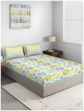 D'Decor Live Beautiful Cotton Geometric King Size Bedsheet 144 TC ( 1 Bedsheet With 2 Pillow Covers , Multi )