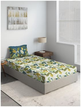 D'Decor Live Beautiful Cotton Floral Single Size Bedsheet 144 TC ( 1 Bedsheet With 1 Pillow Covers , Green )