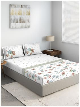 D'Decor Live Beautiful Cotton Floral Double Size Bedsheet 136 TC ( 1 Bedsheet With 2 Pillow Covers , Brown )
