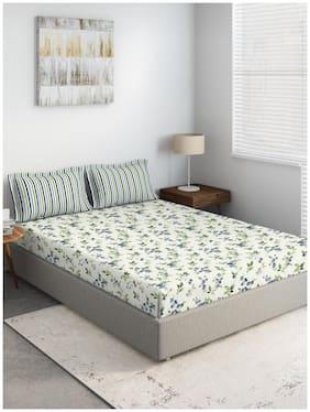 D'Decor Live Beautiful Cotton Floral Double Size Bedsheet 144 TC ( 1 Bedsheet With 2 Pillow Covers , Blue )