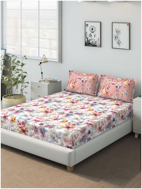 D'Decor Live Beautiful Cotton Floral Queen Size Bedsheet 136 TC ( 1 Bedsheet With 2 Pillow Covers , Pink )