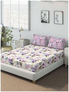 D'Decor Live Beautiful Cotton Floral Queen Size Bedsheet 136 TC ( 1 Bedsheet With 2 Pillow Covers , Purple )