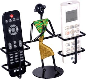 D&V ENGINEERING Remote holder/Remote stand with welcome gesture lady for 2 remotes (GREEN & GOLD ).