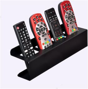 D&V Engineering Steel Wall Mount Sturdy Remote Holder/Stand/Organizer for TV, AC, DVD, STB, DTH Remotes (Black, 4 Remotes)