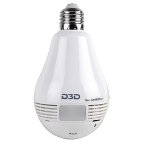 D3D D1005WY Panoramic Bulb 1.3MP;Fisheye Vision;Remoting Monitoring LED Bulb Light Security Camera (White)