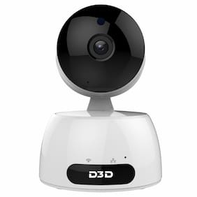 D3D D829 Wireless HD IP WiFi CCTV Cloud Indoor Security Camera (Support Up to 128 GB SD Card) (White Color)