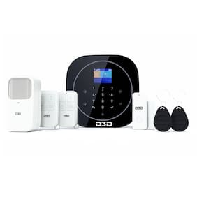 D3D Smart Life WiFi GSM Security Alarm System for Home Shop Office with Motion Sensor | Door Window Sensor | Remote & Mobile Controlled Security System Mode: ZX-G12