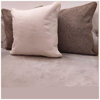 Good Vibes Solid Jacquard Square Shape Brown Cushion Cover ( Regular , Pack of 3 )