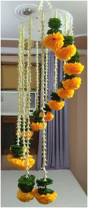 Dannyboyzs Artificial Marigold Flower Garlands Chandelier;Zhoomar For Diwali Decorations;Home And Party Decorations (Reusable Artificial Flowers Hanging)