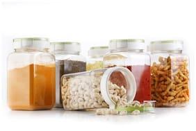 Dark LINE 1400 ml Transparent Plastic Container Set - Set of 6