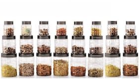 Darkline 350;650;1200 ml Transparent & Grey Plastic Container;Storage Container Set - Set of 24