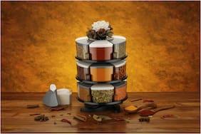 Darkline 360° Spice Box Spice Rack Spice Jar Spice Storage Spice Container Masala Box Set Of 18 (Grey)