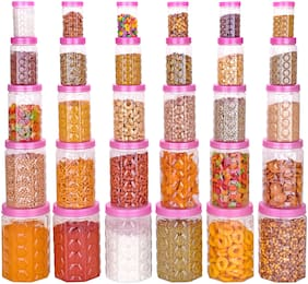 Darkline Canisters & Jars Set Of 30 - 250 ml;350 ml;650 ml;1200 ml;2000 ml Plastic (Pack of 30;pink;Transparent)