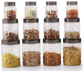 Darkline Checkers Plastic PET Canister Set;Storage Containers for Kitchen;12 pcs