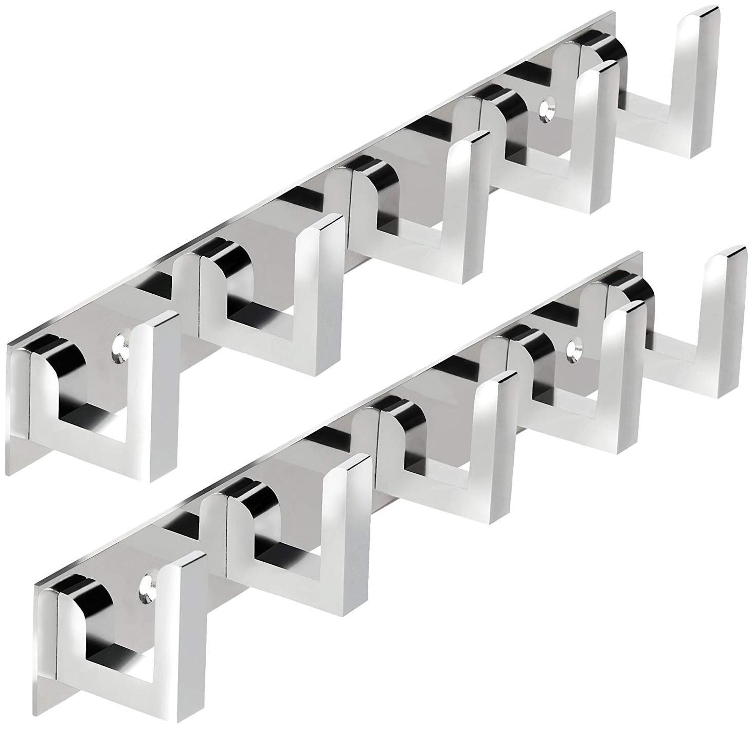 Darkline Glossy Classic 5 Pin Bathroom Cloth Hanger Door Wall Hooks For Hanging keys;Clothes Holder 5   Pronged Hook Rail