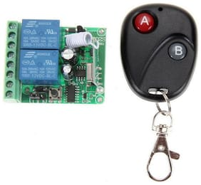 DC 12V 2CH Learning Code Relay Receiver w/ Wireless Remote Control Transmitter