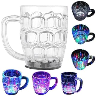 De-Ultimate (Set Of 1) Inductive Rainbow Magic 7 LED Light Color Changing Multi-Purpose Use Liquid Activated Plastic Cup/Mug For Water/Tea/Coffee/Beer & Alcohols Home Parties & Celebration (200 ml)