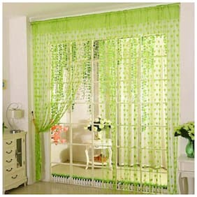 DE-Ultimate Net & Polyester Window Transparent Green String Curtain ( Rod Pocket Closure , Printed )