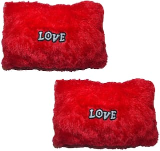 De-Ultimate Set of 2 pcs Red Color Love Tickle Soft Cotton Teddy Bear Cushion Pillow Anniversary Birthday Valentine Friendship Gift - 30 cm (Pack of 2; Red)