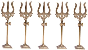 De-Ultimate Pack Of 5 pcs Trishul;trident Damru with Stand Brass Statue for Car Dashboard/temple;Puja Ghar