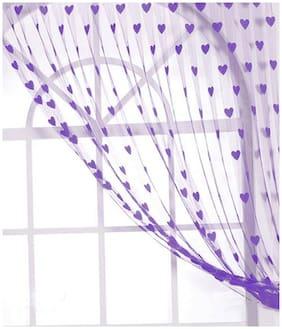 DE-Ultimate Polyester , Net Door Transparent Purple String Curtain ( Rod Pocket Closure , Printed , Pack of 1 )
