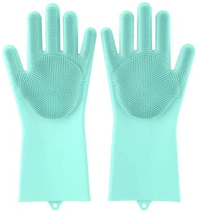 De-Ultimate Multipurpose Magic Reusable (Multi-Color) Silicone Rubber Bristles Scrubbing Sponge Eco Scrubber Cleaning Gloves For Dish Washing, Kitchen, Car And Bathroom (Color May Vary)