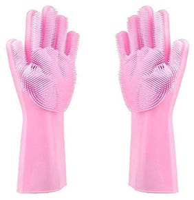 DEALBOOTH Magic Silicon Rubber Hand Gloves for Kitchen with Scrubber Dish Wash Gloves Cooking-Baking-Oven Glove Heat Resistance Non Slip Pet Bathing Car Wash Free Size Premium Pair Pink