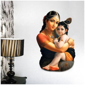 Decal o Decal ' Little Krishna with Mother Yashoda ' Wall Stickers (Vinyl;Multi)