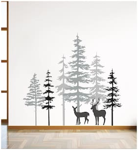 Decal O Decal Wall Decals Deers in Pine Tree Forest Wall Stickers