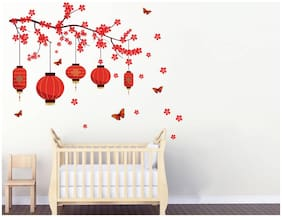 Decal O Decal Chinese Bright Red Lanterns And Butterflies Wall Stickers