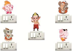 Decor Villa Ganesha Wall Sticker & Switch Board Sticker ( Set OF 5 )