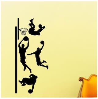 f46751ff664b Decor villa Decor villa War of basketball Wall decal   sticker Black Color  Medium size -