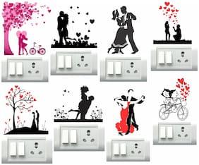 Decor Villa Couples Switch Board & Wall Sticker (PVC Vinyl,Size- 30 cm x 30 cm)