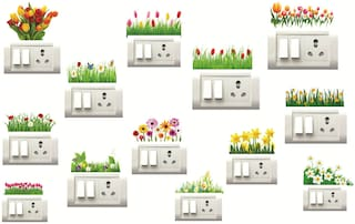 Decor Villa Flower  Wall Sticker & Switch Board Sticker ( Set OF 13 )